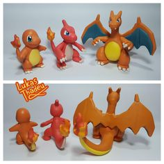 """Handmade with cold porcelain clay (also known as """"biscuit"""" here in Brazil) (Charmander and Charmeleon were made in October 2017 and Charizard in October. Flareon Pokemon, Charmeleon Pokemon, Clay Pokemon, Polymer Clay Figures, Cute Polymer Clay, Polymer Clay Crafts, Pokemon Birthday Cake, Pokemon Party, Diy Arts And Crafts"""