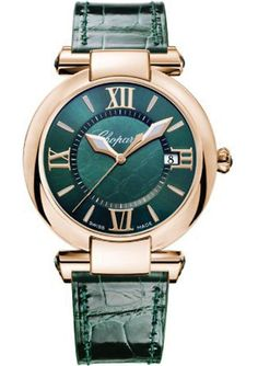 CHOPARD - 384221-5013 Imperiale rose gold and leather tourmaline watch | Selfridges.com