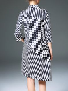 Black Stripes Asymmetric Casual Cotton Shirt Dress