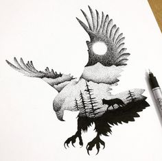 A new take on extreme pointilism. So like my hawk, must try this form (scene within a spirit guide shape)!