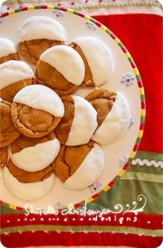 Soft Molasses Cookies...dipped in white chocolate...holy moly! yum, yum, and yum.
