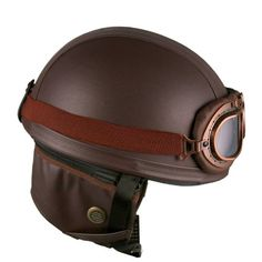 ee0eb4c1 Leather Brown Motorcycle Goggles Vintage Garman Style Half Helmets  Motorcycle Biker Cruiser Scooter Touring Helmet Steampunk
