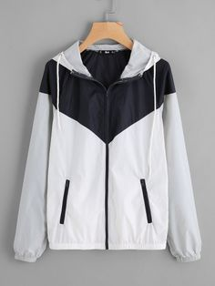 Shop Two Tone Hoodie Windbreaker Jacket online. SheIn offers Two Tone Hoodie Windbreaker Jacket & more to fit your fashionable needs. Belted Shirt Dress, Hoodie Dress, Sweater Hoodie, Cute Fall Outfits, Stylish Outfits, Looks Hip Hop, Pastel Jacket, Streetwear Jackets, Nike Outfits