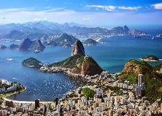Góry, Morze, Rio de Janeiro, Panorama Miasta, Brazylia, Wyspy, Wybrzeże, Z lotu…