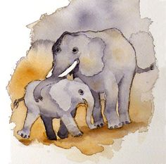 Baby Elephant Art Watercolor Print Family of Circus or Zoo Animals from the Jungle: Fathers Day kids Women Price Under 20. $17.00, via Etsy.