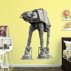 The AT-AT wall decal is reusable without damaging walls. Working on decor for Boy's Room. He wants Endor So really this is the wrong vehicle? We're thinking Star Tours @ WDW. :)