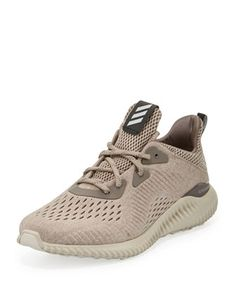 Alphabounce Engineered Mesh Sneaker, Tech Earth/Clear Brown/Crystal White by Adidas at Neiman Marcus.