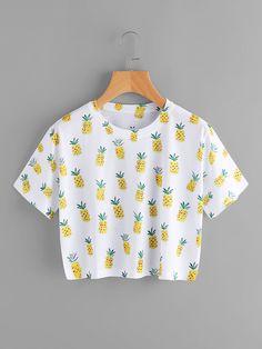 Pineapple Print TeeFor Women-romwe