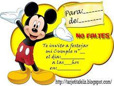 Tarjetas de cumpleaños para imprimir: invitación mickey mouse