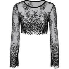 Black Lace Long Sleeve See-Through Crop Top Belly Shirts Black ($14) ❤ liked on Polyvore featuring tops, long sleeve crop top, long sleeve tops, cropped long sleeve shirt, long-sleeve shirt and long-sleeve crop tops