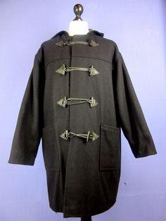 VINTAGE TOPCOAT black DUFFEL COAT wool 4XLARGE made in england cj46    eBay