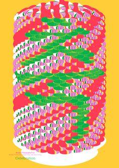 "Hangeul Typography Trial. Depiction of a Korean traditional candy pillar ""Ok-chun-dang"" using hangeul typography."