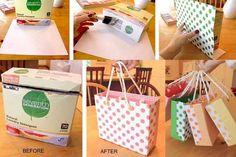 e8eb3d35a Reciclando cajas de cereal o detergente y convertirlas es bolsas para  regalos. Envoltorios De Regalos