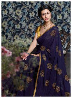 Classy colored chiffon saree with jari sequence work on the saree & border, Great Job! #Laxmipati #Sarees