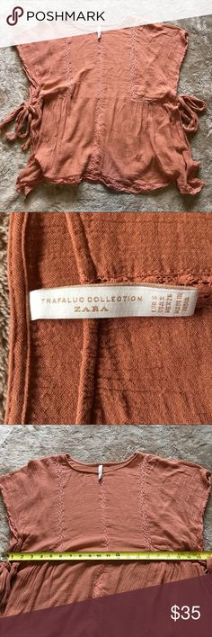 Zara trafaluc collection blouse Zara trafaluc collection blouse  Size small  Excellent used condition   Dusty rose color  Ties on side  Don't be afraid to send an offer, prices are always negotiable. Don't forget, everything in my closet is buy one get one 50% off of equal or lesser value. Zara Tops Blouses