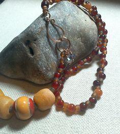 Carnelian Seed Bead Fair Trade Glass Beads by Justatishdesigns