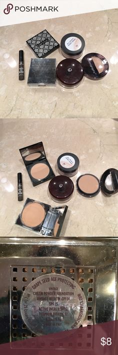 Bundle of face powders. Too dark for my skin tone 5 face products. 4 powders, 1 foundation, 1 eyebrow gel. All more than 3/4 full. Just too dark for my skin. Makeup
