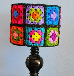 Granny Square Crochet Lamp Shade