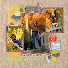 Pretty fall layout, love the wood-grain background paper.