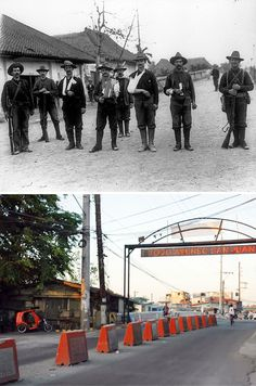 Wounded Washington Volunteer Infantry soldiers in 1899 with the San Juan Bridge in Santa Mesa, Manila in the background. The photographer wonders if the tree in the 2005 photo is the same one. Interesting Photos, Cool Photos, Treaty Of Paris, The Spanish American War, Rough Riders, Manila Philippines, American Soldiers, Vintage Photos, Beer