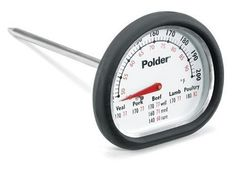 Polder 12454 Meat Thermometer, Stainless Steel by Polder. $7.62. Easy to read layout makes for ease of use. Heat resistant silicon safety grip makes it easy and safe to remove. Dishwasher safe for easy cleaning. Cooking range from 120 degrees F to 200 degrees F for all types of meat. USDA cooking chart on face gives user guidelines for USDA recommended serving temperatures. This retro style meat thermometer features a unique design and an easy to read layout.  The heat resistant...
