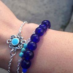 Blue Glass Beaded Bracelet by MagnificentMouse on Etsy