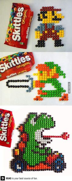 Art of Skittles ~ I would do this too, problem is that I end up eating the Skittles before my artistic prowess kicks in,