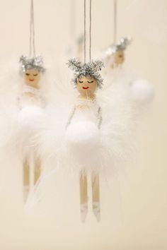 Christmas decoration Wooden Fairy Peg Doll white Idea