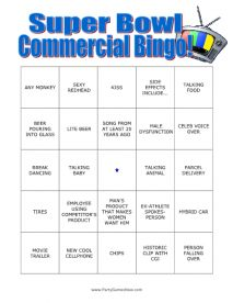 Super Bowl Commercial Bingo - Adult Super Bowl Games, Printable Super Bowl Games
