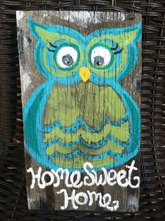 Homing Owl Recycled Barnwood Painting by PetalsAndBrushes on Etsy