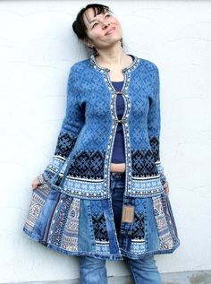 Blue patchwork sweater coat made from recycled sweaters and jeans.