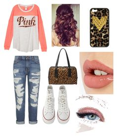 """""""peach cheetah"""" by nerdy-beautiful-loveminnie ❤ liked on Polyvore featuring Current/Elliott, Converse, FOSSIL, Charlotte Tilbury and Wildflower"""