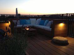 Dakterras Amsterdam, hardhout, tuinbank, roof terrace, wooden bench