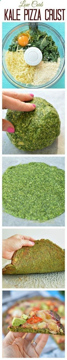 My fav Healthy Pizza Crust ! This Low Carb Kale Pizza Crust is made with only 5 ingredients and take 15 minutes to prepare.