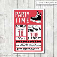 Hockey Party Ticket Invitations Template red black Hockey