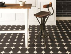 Monochrome is always popular, so Victorian Floor Tiles can add a dramatic edge with the use of pattern. The York pattern, shown here in black and white, is simple but gorgeous. Kitchen Flooring Options, Kitchen Floors, Wall Tiles Design, Victorian Tiles, Tile Showroom, Tile Manufacturers, Upstairs Bathrooms, Style Tile, Decorative Tile