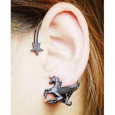 Black Stereoscopic Pegasus and Star Earrings Girls Jewelry, Cute Jewelry, Unicorn Ears, Unicorn Fashion, Unicorn Jewelry, Unicorns And Mermaids, Heart Shaped Sunglasses, Unicorn Crafts, Star Earrings