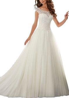 Simple Long A-Line Cap Sleeve Train Lace Wedding Dresses