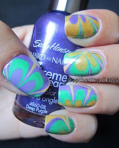 Captivating Claws: water marble. I love this!