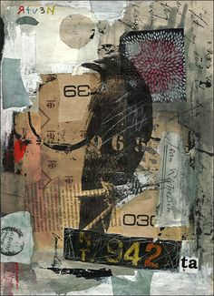 Autographed PRINT art from Original abstract collage by rcolo