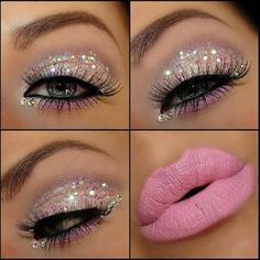 I'd probably never have such sparkly make up, but I think it is pretty.. Not a huge fan of the lipstick color though, at least not for me... Get Dolled Up: Prom Inspiration!