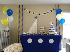 Nautical Baby Shower! Blue and Yellow sailor theme.