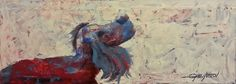 Curious Dog by Gabriella DeLamater - Painting - Harngallery.com Online Art Gallery