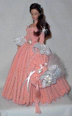 Barbie Crochet Gown, Crochet Barbie Clothes, Barbie Gowns, Barbie Dress, Crochet Dolls, Barbie Doll, Barbie Patterns, Doll Clothes Patterns, Barbie Collection