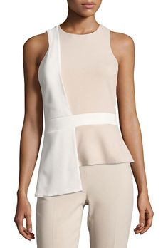 Sleeveless Bicolor Top with Overlapping Panel by Cushnie et Ochs. Cushnie et Ochs bicolor top with overlapping detail. Jewel neckline. Sleeveless; slight cut-in shoulders. Banded wais...