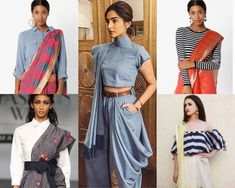 women today are wearing western blouses, tops and t shirts on their sarees to create a chic and contemporary fusion saree look. Indian Western Dress, Western Dresses, Western Style, Mehendi Outfits, Indian Outfits, Saree Wearing Styles, Western Outfits Women, Stylish Blouse Design, Stylish Sarees