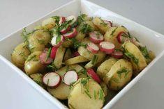 Grøn- og rød kartoffelsalat en opskrift fra Alletider kogebog
