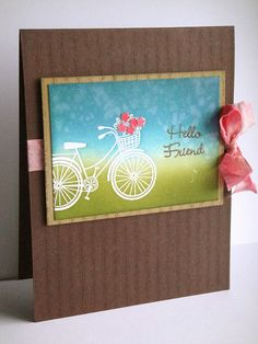 hello friend bicycle silhouette card