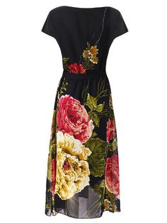 Women Floral Printed Chiffon Elastic Waist Short Sleeve Dresses