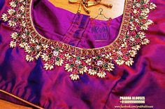 blouse designs Jeweled Blouse designs for Sarees Jeweled Blouses are trendy nowadays with a lot of creativity hitting this year. I have already posted different var Cutwork Blouse Designs, Kids Blouse Designs, Wedding Saree Blouse Designs, Hand Work Blouse Design, Simple Blouse Designs, Blouse Neck Designs, Dress Designs, Designer Blouse Patterns, Designer Dresses